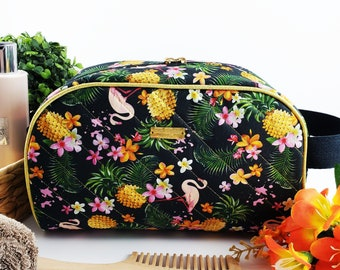 Half Moon toiletry bag made of cotton and structured for form, zippered taco pouch with handle - black background tropical flamingo print