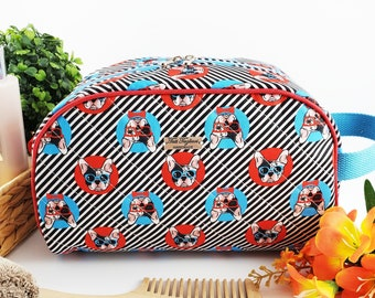 Half Moon toiletry bag made of cotton and structured for form, zippered taco pouch with handle - striped with French Bulldog print