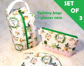 Toiletry Bags sold as set or separate with Box Bag, Medium Bag, and Glasses Case - Women's Cosmetic Storage with Cacti print for Travel