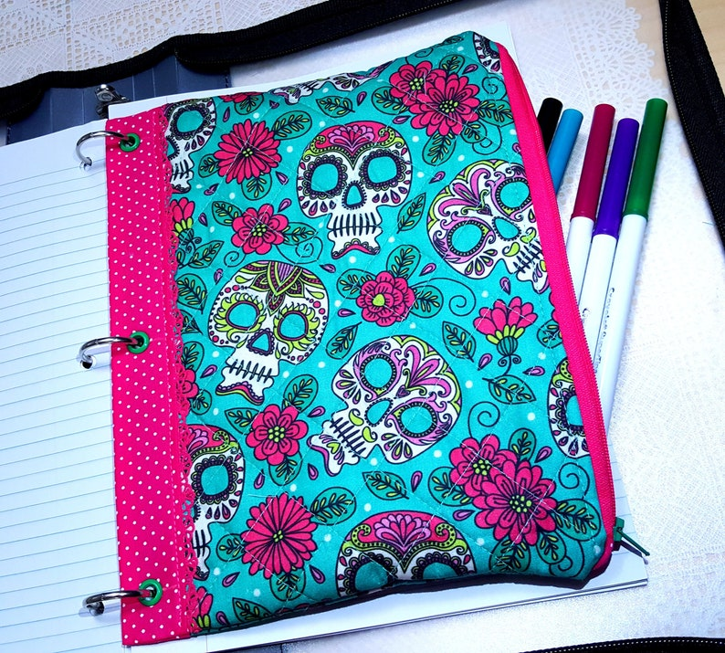 Pencil Pouch for Binders or Planners  Organizer for Binders Skull green + pink