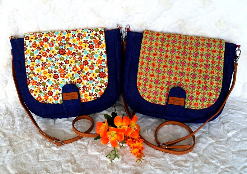 Crossbody Bag made of Denim and Geometric Pattern with image 0
