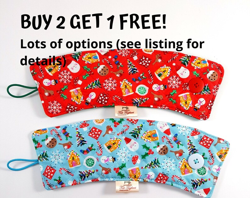 Insulated cup sleeves winter / holiday themed  Reversible cup image 0