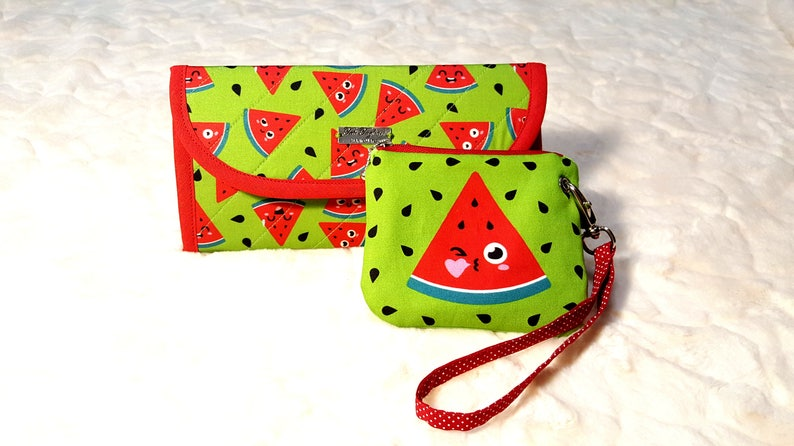 Watermelon fabric woman's wallet green red wallet fabric image 0