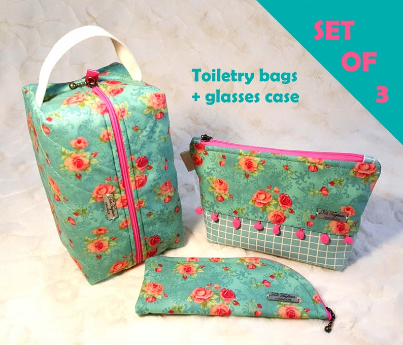 Toiletry bags and glasses case made of fabric women's image 0