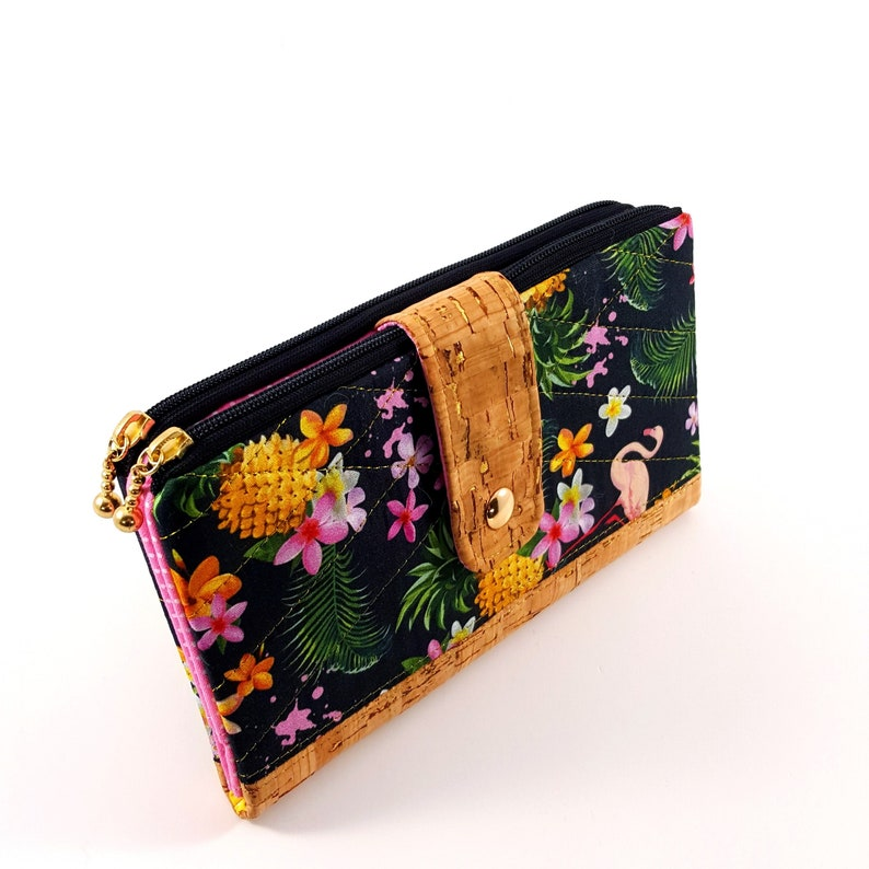 Clutch Wallet with 2 zippered pockets 6 card slots and 2 image 0