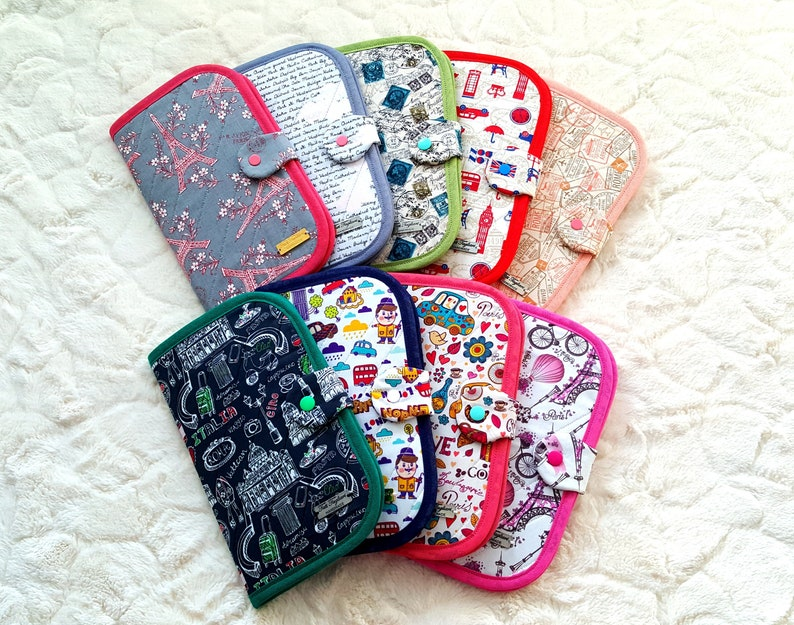 Passport Case for women with 4 slip pockets and plastic snap image 0