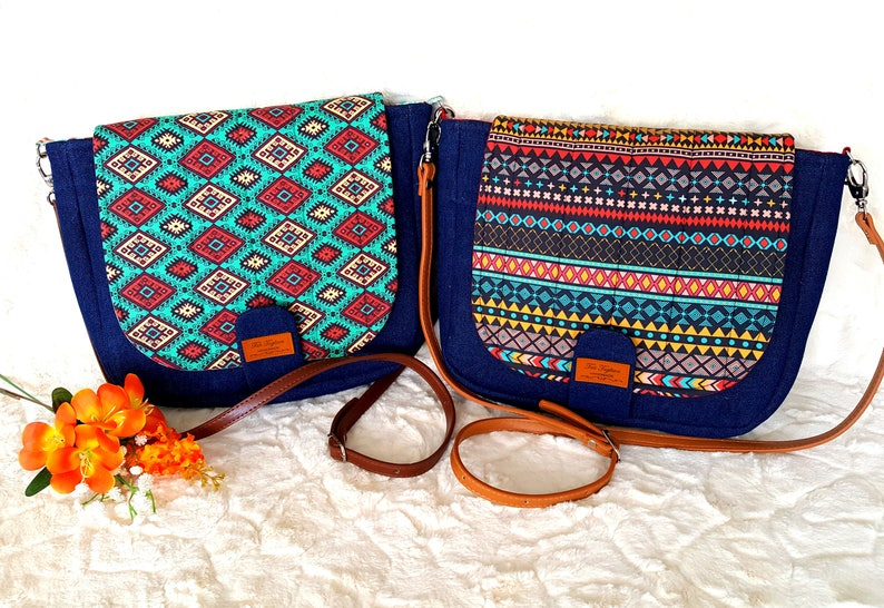 Crossbody Bag Denim and Ethnic Tribal Pattern Leather image 0