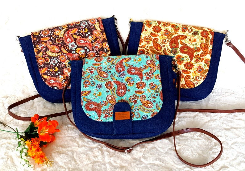 Crossbody Bag Denim and Paisley Pattern Leather Adjustable image 0