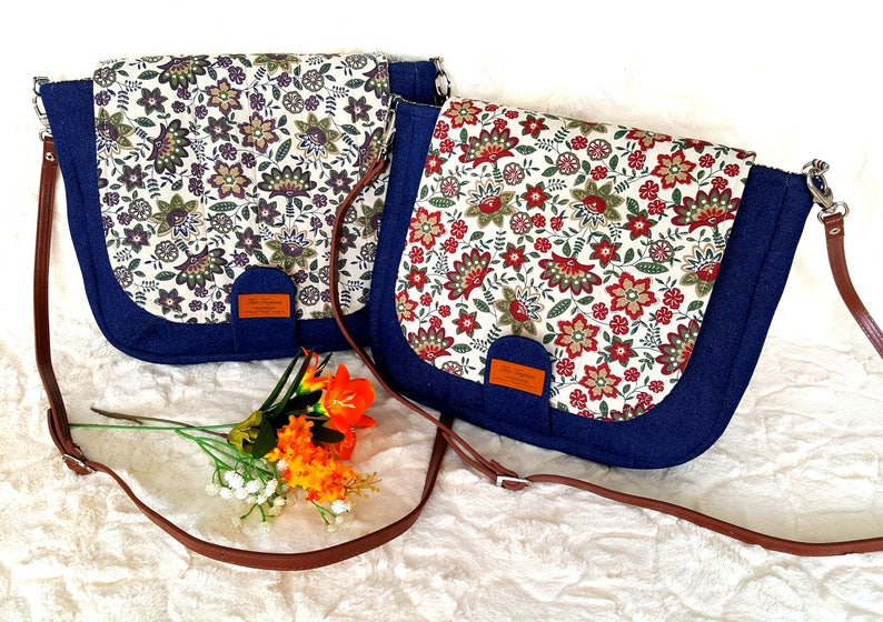Crossbody Bag made of Denim and Flowers Pattern with image 0