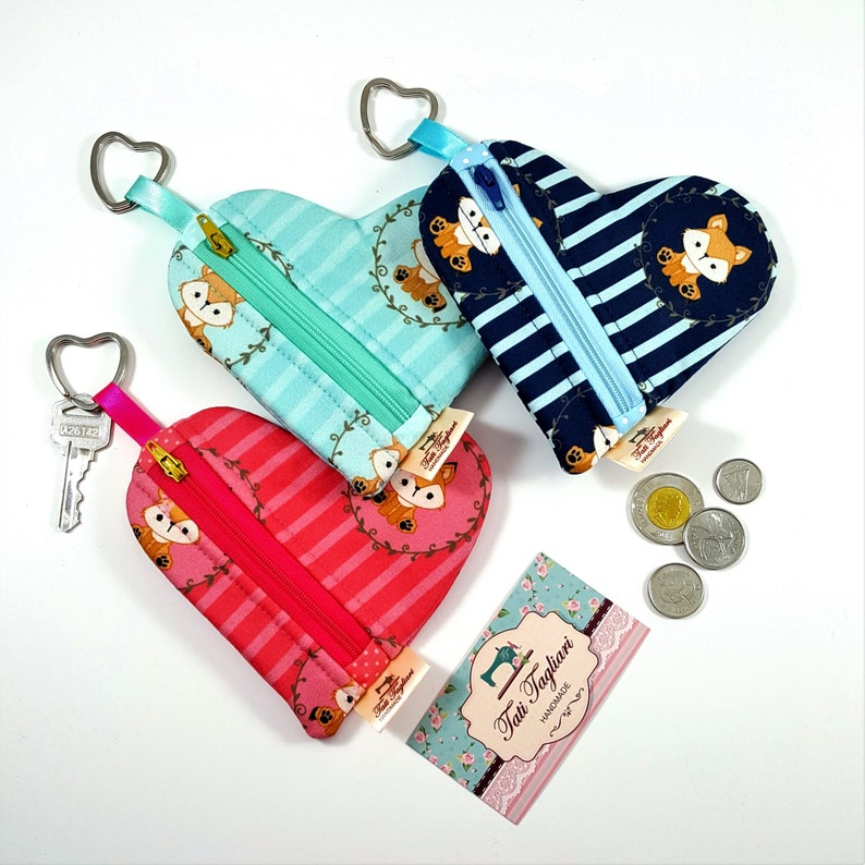 Heart Shaped Coin Pouch with Key Ring and Zipper  Small Purse image 0