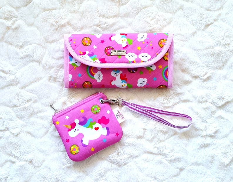 Set of Wallet and Coin Pouch made of Cotton with Unicorn image 0