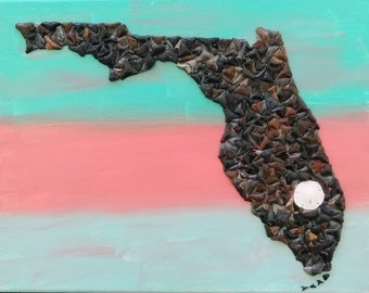 State of Florida made with shark teeth