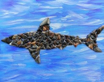 "8' X 10"" Shark made from fossilized shark teeth"
