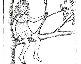 Girl in a tree greeting card