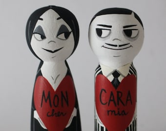 Morticia and Gomez, Valentines Day Peg Dolls, Valentines Day Gifts, Hand Painted Gift, Wooden Collectables, Valentines Day, Couples Gift