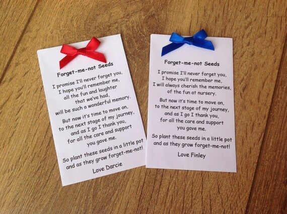 Personalised Forget Me Not Seeds packet End of term school Leaving gift  present Thank You for teacher, Nursery, Preschool, key worker