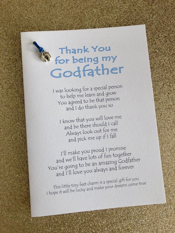 Thank You For Being My Godmother//Godfather//Godparent personalised cards gifts