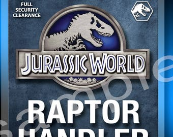 Universal Studios Jurassic World Raptor Handler Replica Prop ID Badge 4x6 Lanyard Tag Sahara Jeep Parks Ride Hollywood Orlando