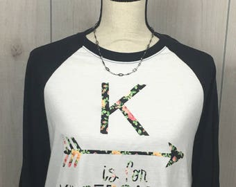 K is for Kindergarten teacher shirt