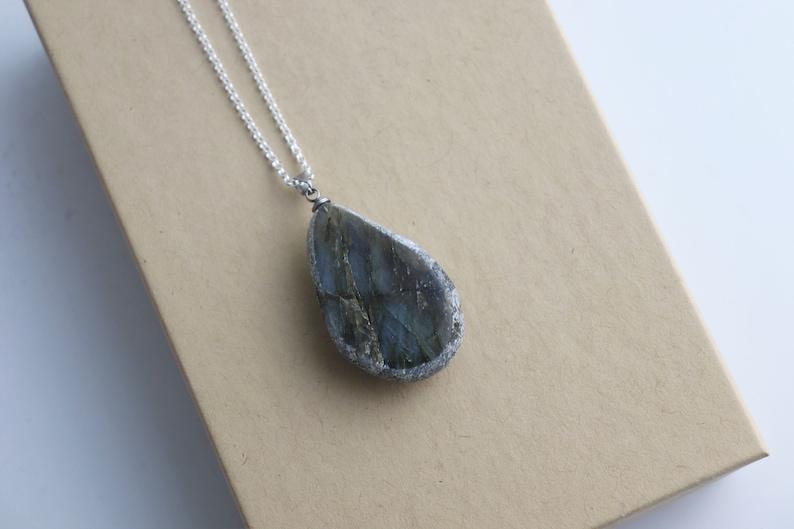 213 Silver Chain Labradorite Crystal Necklace Pendant