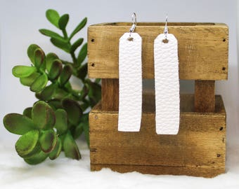 White Faux Leather Earrings-White Pebbled Faux Leather Long Rectangle Drop Earrings