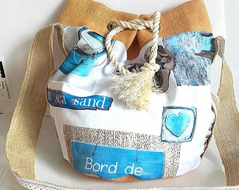 Beach spirit bag bucket bag worn cross body burlap tote bag women bag shoulder seaside burlap