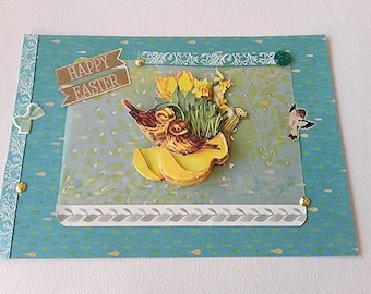 card 3D bouquet of daffodils Easter birds nest handmade any occasion wedding engagement mother's day mothers day birthday she