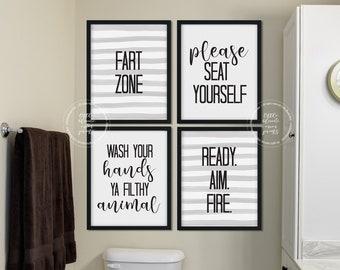 set of 4 funny bathroom printable signs fart zone seat yourself wash your hands aim boys bathroom fun decor gray stripes - Boys Bathroom