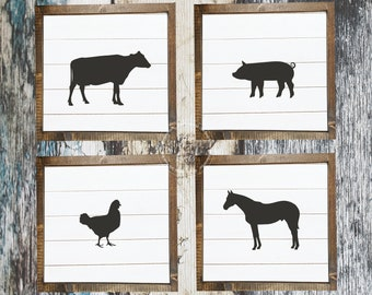 Set of 4 Farmhouse Animal Decor Printables | Square | Shiplap | Farmhouse Decor | Farm Animal Silhouette | Cow | Pig | Chicken | Horse