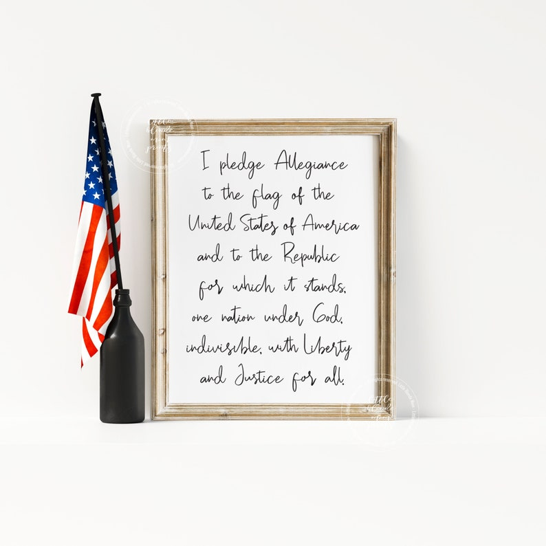 picture about Pledge of Allegiance Printable called Pledge of Allegiance Print 4th of July Memorial Working day Veterans Working day  American Patriotic United states of america Decor Property Decor Printable