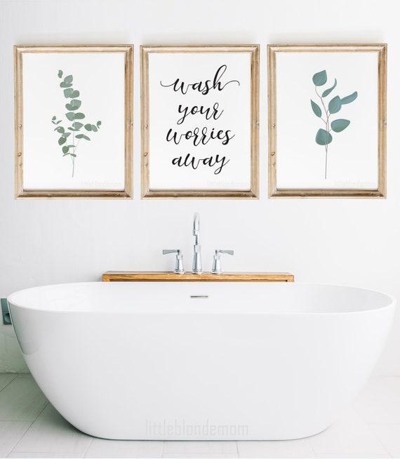 Bathroom Wall Decor Set Of 3 Wall Art Farmhouse Wall Art Etsy