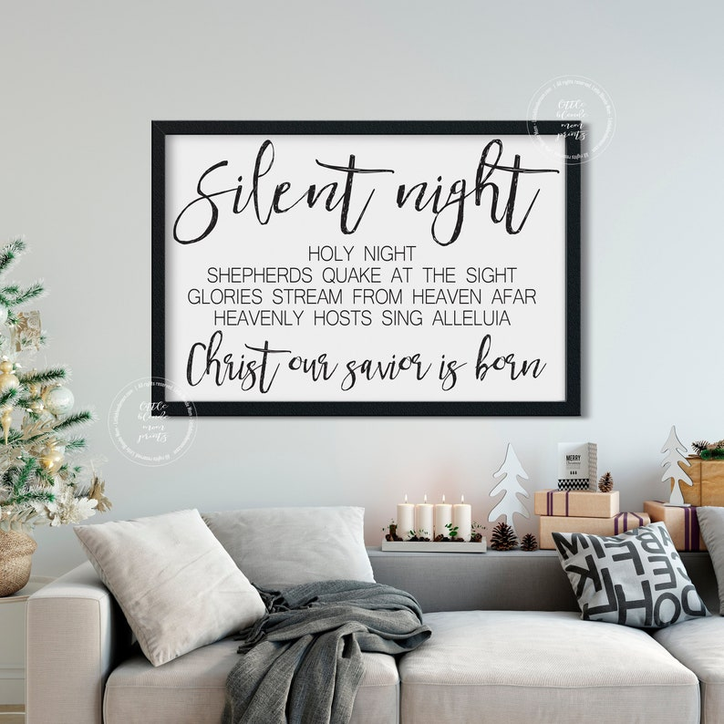 image regarding Silent Night Lyrics Printable called Peaceful Night time Lyrics Printable Major Wall Decor Farmhouse Decor Black  White Xmas Wall Artwork Xmas Decor Instantaneous Down load