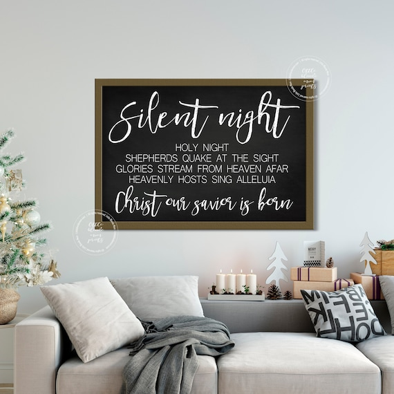 picture about Silent Night Lyrics Printable titled Quiet Night time Lyrics Printable Huge Wall Decor Farmhouse Decor  Chalkboard Black White Xmas Wall Artwork Fast Down load
