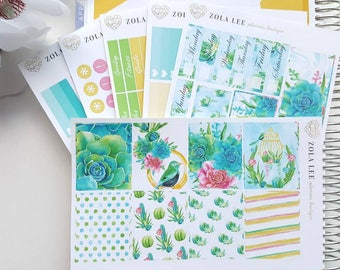 Planner Stickers-SUCCULENT Weekly Planner Kit for Erin Condren, Happy Planner, Kikki K, and More