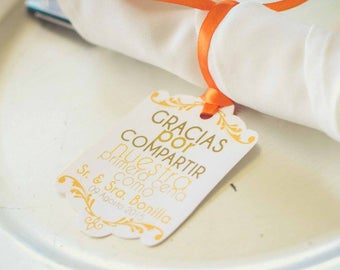 50 set Tag  Gracias por compartir nuestra primera comida. Wedding Table decor Tags