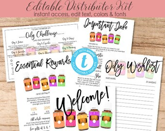 Essential Oil New Member Welcome Bundle, Distributor Kit, Editable Template, Printable Marketing Materials, Templett, Instant Download