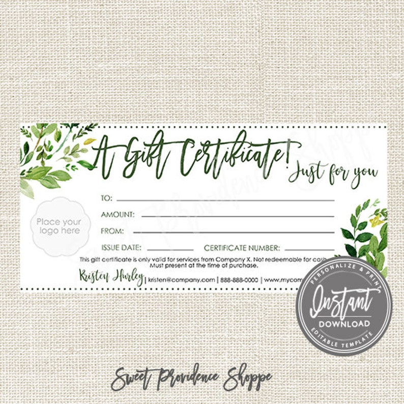 22e439f29f6ce Editable Gift Certificate, Greenery Printable Gift Voucher, Editable Gift  Certificate Template, Editable Voucher, Instant Access
