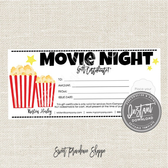 Editable Gift Certificate Movie Night Printable Gift Etsy