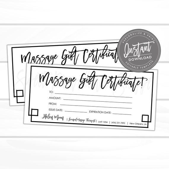 Editable Gift Certificate Massage Printable Gift Card Spa Massage Gift Certificate Template Voucher Edit Now Instant Access