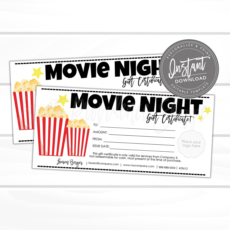 editable gift certificate movie night printable gift