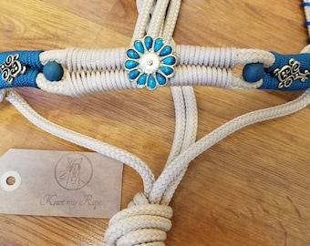 Custom show rope halters with V-browband in your colors, horse tack, horse show tack