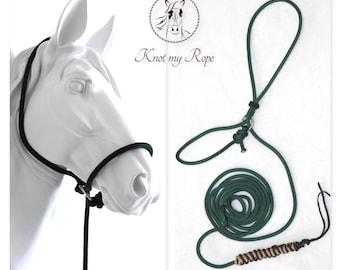 pocket halter, halter, rope halter, horse tack, rope, halter with lead rope