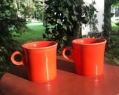 Vintage Pair of Orange Fiesta Coffee Mugs Homer Laughlin Fiestaware Mugs