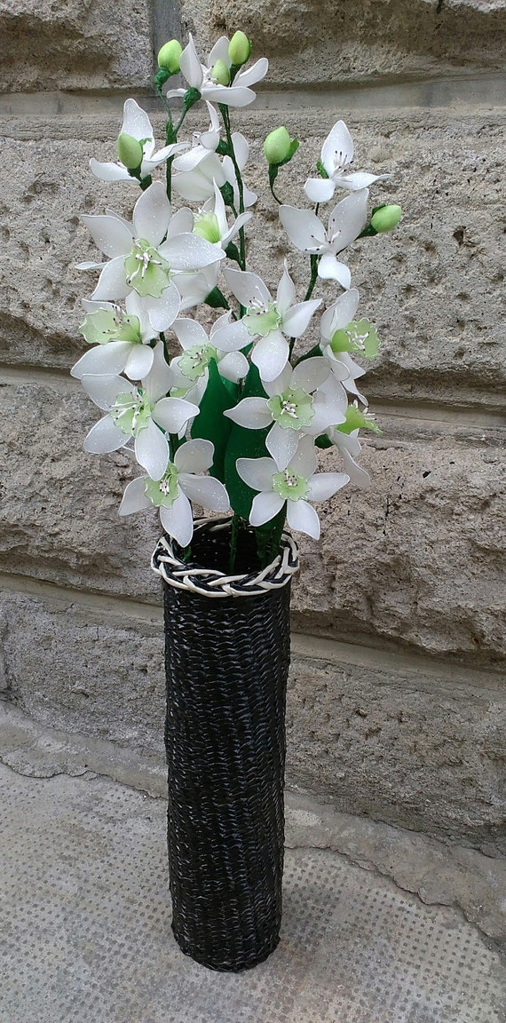 Artificial Flowers In Handmade Vase Flower Arrangement In Etsy
