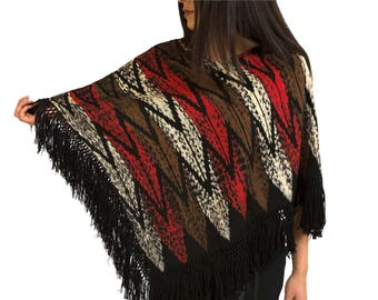 IKAT Poncho handmade using natural colors high-quality fabric known as macana using IKAT technique popular in Ecuador