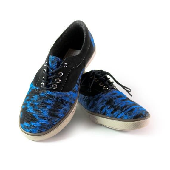 Belle Belle Belle IKAT chaussure pour hommes massif poli en cuir noir et motif bleu et noir | Porter-résistance  78adb0