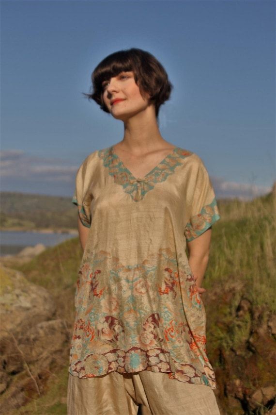 Authentic vintage 1920s Japanese hand printed top… - image 5