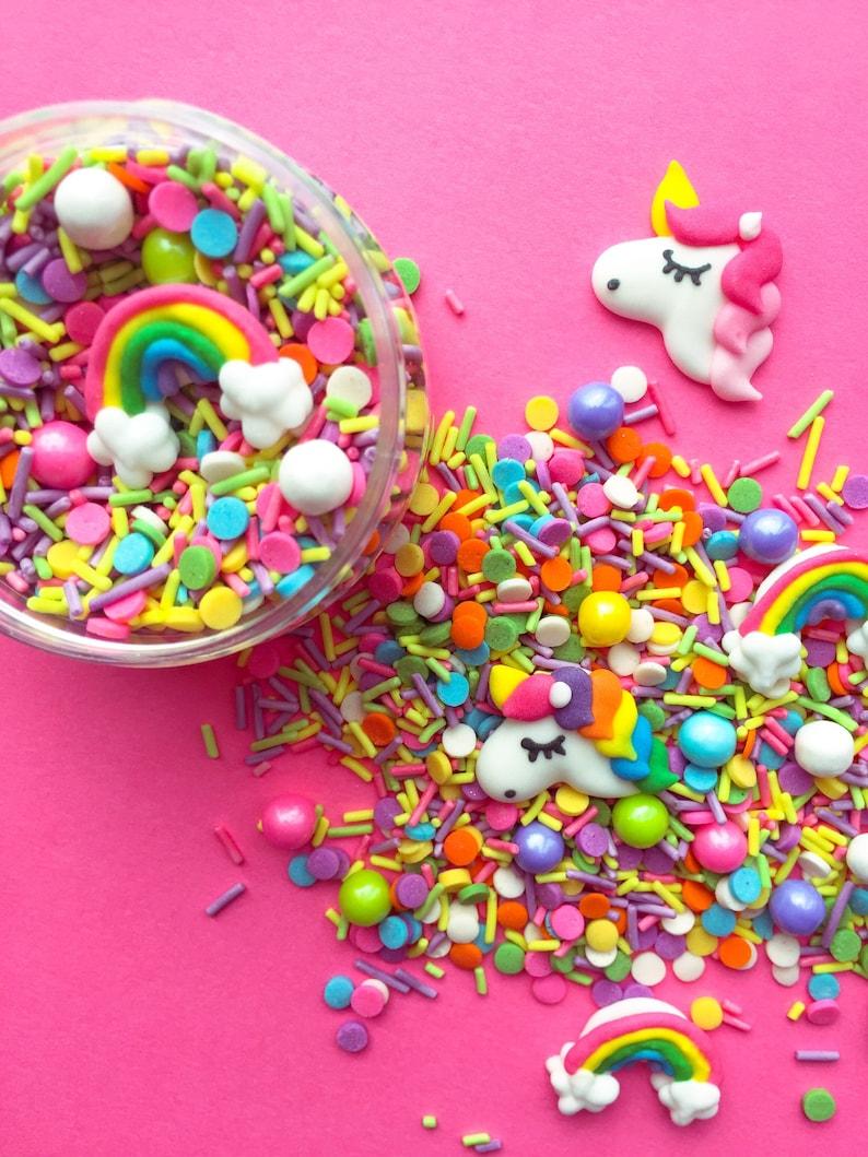 Unicorn sprinkles  rainbow sprinkle mix   birthday cake image 0