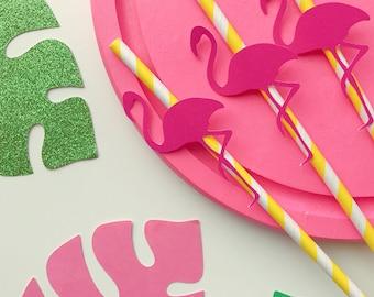 Flamingo straws ~ yellow paper straws