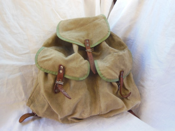 Vintage backpack , Large green canvas backpack , f